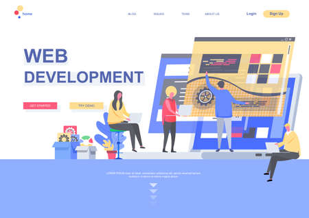 Web development flat landing page. Front end and back end development, developers team create internet application situation. Web page with people characters. Software engineering vector illustration