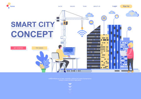 Smart city concept flat landing page template. Internet of things, wireless networking, digital environment engineering situation. Web page with people characters. Smart technology vector illustration