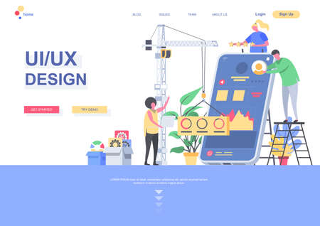 UI UX design flat landing page template. Developers team creating interface of mobile application situation. Web page with people characters. Responsive design and usability vector illustration. Vetores