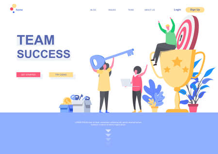 Team success flat landing page template. Office workers celebrating victory, winner sitting on trophy cup situation. Web page with people characters. Competition and achievement vector illustration Ilustração Vetorial