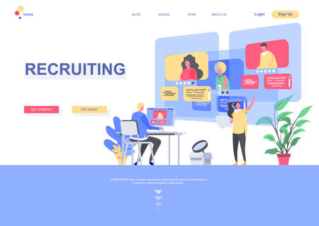 Recruiting flat landing page template. HR manager studying resumes of candidates situation. Web page with people characters. Human resource management and personnel hiring vector illustration.