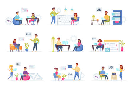 Programming scenes bundle with people characters. Frontend and backend developers team working in office, web design and software engineering situations. Programs development flat vector illustration Illustration