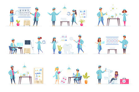 Medicine scenes bundle with people characters. Laboratory diagnostics, genetic research, ophthalmology, radiology and stomatology situations. Diagnosis and treatment in clinic flat vector illustration Ilustración de vector