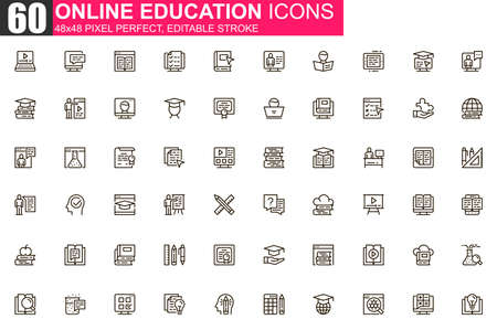 Online education thin line icon set. Distance learning outline pictograms for website and mobile app GUI. Online webinar, courses simple UI, UX vector icons. 48x48 pixel perfect linear pictogram pack. Vectores