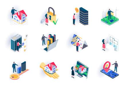 Real estate isometric icons set.