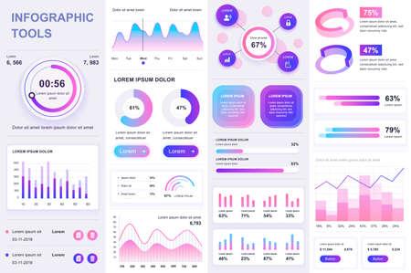 Bundle infographic UI, UX, KIT elements. Different charts, diagrams, workflow, flowchart, timeline, schemes, marketing icons, graphs and bars design template. Vector info graphic and infographics set.