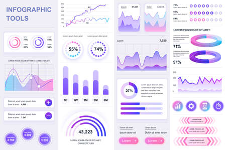 Bundle infographic UI, UX, KIT elements. Different charts, diagrams, workflow, flowchart, timeline, schemes, marketing icons, graphs and bars design template. Vector info graphic and infographics set.