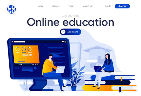 Online education flat landing page. Students learning with laptops vector illustration. Distance education, online webinar, career and skills development web page composition with people characters.