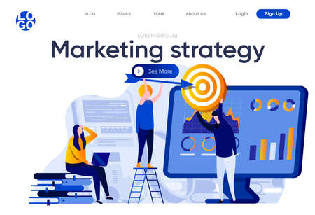 Marketing strategy flat landing page. Marketing team doing target audience research vector illustration. Data analysis and finding potential customers web page composition with people characters Ilustracje wektorowe
