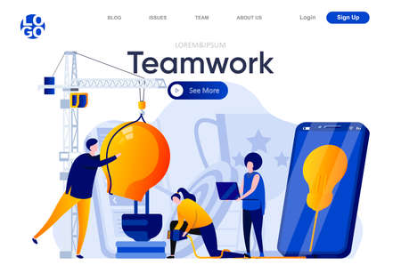 Teamwork flat landing page. Business teammates together developing new project vector illustration. Partnership and collaboration, motivation and progress web page composition with people characters