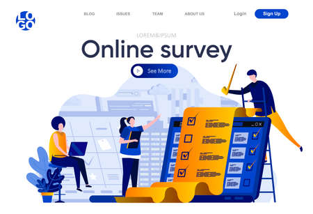 Online survey flat landing page. Respondent completing checklist web page composition with people characters. Online survey service to capture voices and opinions of people vector illustration. Vecteurs