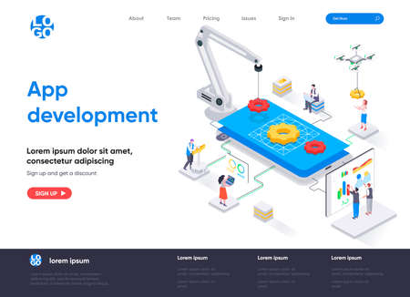 App development isometric landing page. UI UX design, prototyping, engineering and programming application. Digital technology isometry web page. Website vector illustration with people characters. Ilustração Vetorial