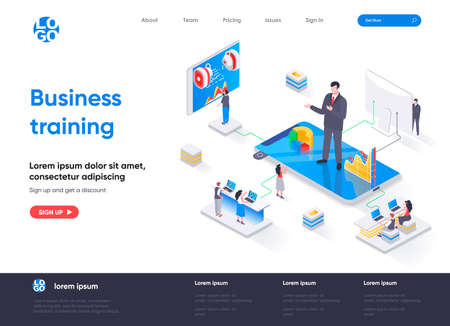 Business training isometric landing page. Business education, career development course, motivation and mentoring isometry web page. Website flat template, vector illustration with people characters. Vectores