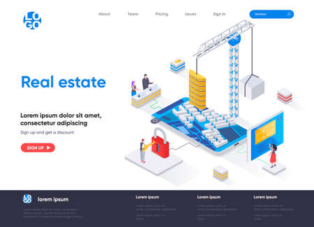Real estate isometric landing page. Residential and commercial real estate property, engineering and construction isometry web page. Website flat template, vector illustration with people characters.