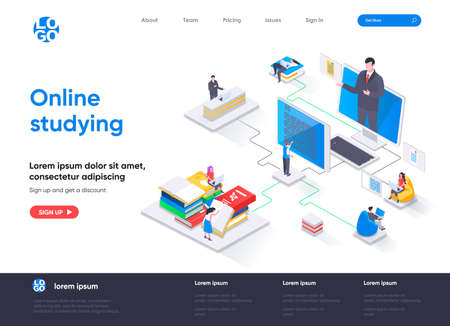 Online studying isometric landing page. Distance learning, online education, professional seminars and courses isometry web page. Website flat template, vector illustration with people characters.