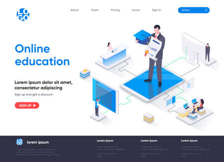 Online education isometric landing page. Distance learning service, professional courses and skills development isometry web page. Website flat template, vector illustration with people characters.