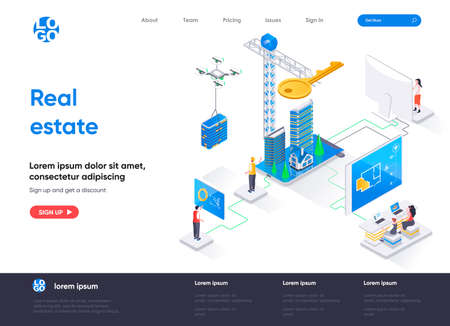 Real estate isometric landing page. Real estate engineering and construction company, buy, rent and mortgage services isometry web page. Website template, vector illustration with people characters.