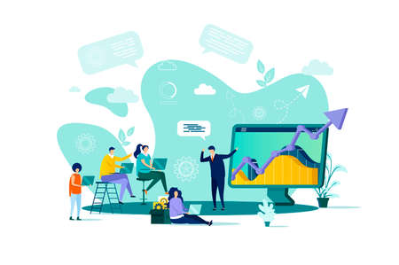 Business training concept in flat style. Businessman making presentation with charts to his colleagues scene. Career development banner. Vector illustration with people characters in work situation.