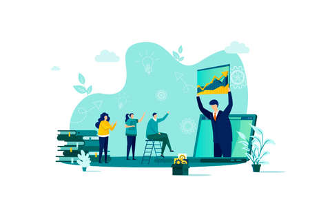 Coaching concept in flat style. Business coach making presentation scene. Consultation and assistance, motivation and mentoring web banner. Vector illustration with people characters in work situation