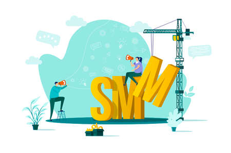 SMM concept in flat style. Marketer announce in megaphone scene. Digital marketing campaign, announcement and promotion web banner. Vector illustration with people characters in work situation.