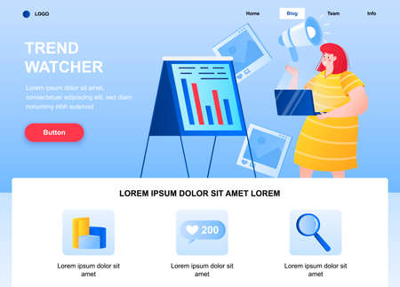 Trend watcher flat landing page. Marketer study actual trends web page. Colorful composition with people character, vector illustration. Professional trend watching, online marketing research concept Vecteurs