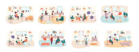 Beauty salon bundle of scenes with flat people characters. Barbershop conceptual situations. Manicure and pedicure, hairdressing, makeup, massage and cosmetology procedures cartoon vector illustration