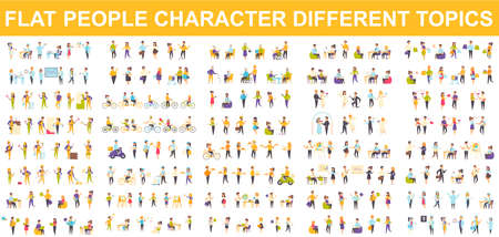 Bundle vector flat people character. Contains such as Medical, Students, Pupils, Office Managers, Builders, Hipsters, Shoppers and more. Cartoon people in different poses. Vector illustration.