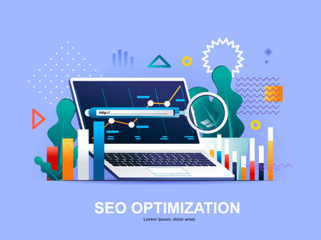 SEO optimization flat concept with gradients. Internet analytics, online research software and tools template. Website content optimization for relevant searches 3d composition, vector illustration.