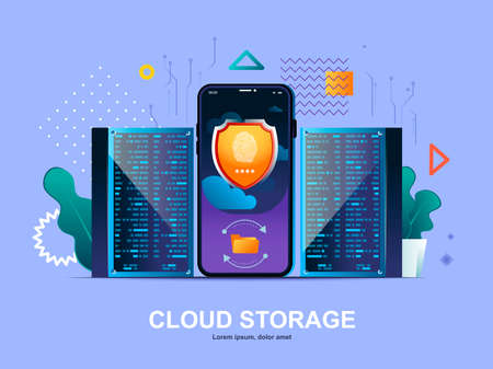 Cloud storage flat concept with gradients. Data backup mobile app, information security and privacy, web template. Virtualization technology, cloud database system 3d composition, vector illustration. Vektorové ilustrace