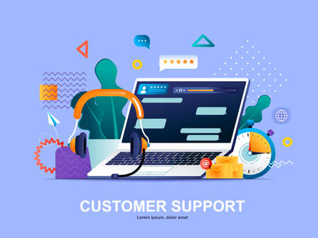 Customer support flat concept with gradients. Call center service, online assistance web template. Hotline consultation and help chat 3d composition, technical support chatbot vector illustration.