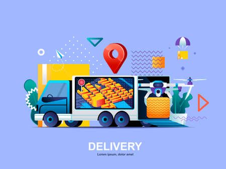 Delivery service flat concept with gradients. Express delivery service, fast global and local shipping web template. Online ordering, delivery at home by quadcopter 3d composition, vector illustration