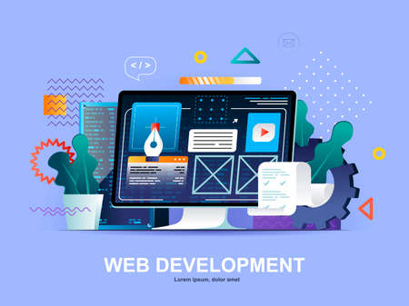 Web development flat concept with gradients. Website construct, prototyping and programming template. UI UX designer workplace 3d composition, front end development company vector illustration.