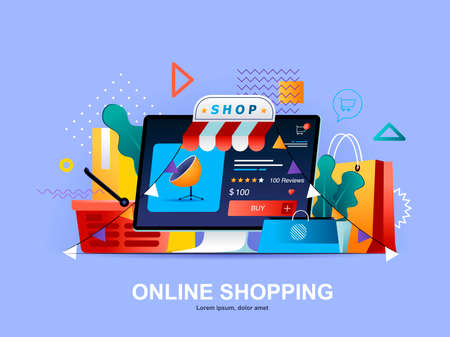 Online shopping flat concept with gradients. Web solution for online shopping platform template. E-commerce business, order and delivery service 3d composition, retail distribution vector illustration