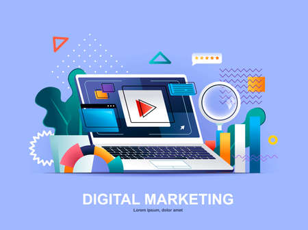 Digital marketing flat concept with gradients. Social media marketing, online consultation and strategy planning service web template. Digital marketing agency 3d composition, vector illustration.
