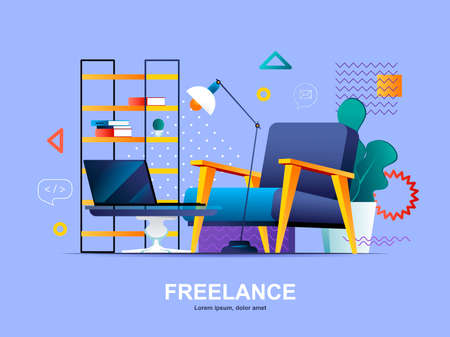Freelance flat concept with gradients. Home office with comfortable workplace web template. Freelance platform, remote workspace 3d composition, outsourcing development services vector illustration.