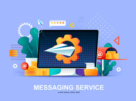 Messaging service flat concept with gradients. Internet messenger web application template. Online people communication software, texting and chatting service 3d composition, vector illustration.