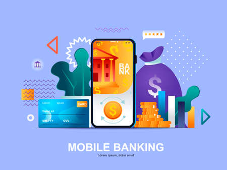 Mobile banking flat concept with gradients. Digital wallet mobile application web template. Smart finance app for money transactions, payments and investing 3d composition, vector illustration.