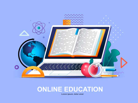 Online education flat concept with gradients. Distance learning service, professional courses and skills development web template. Online studying 3d composition, digital library vector illustration.
