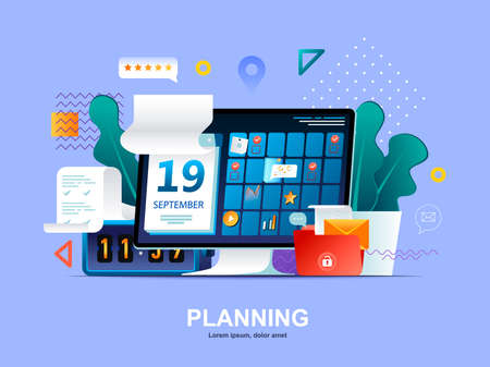 Planning flat concept with gradients. Business planning, organizing work activities and tasks web template. Time management and high productivity 3d composition, workflow board vector illustration.