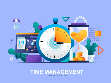 Time management flat concept with gradients. Effective planning workflow and performing tasks web template. Adherence to deadlines and high work productivity 3d composition, vector illustration.