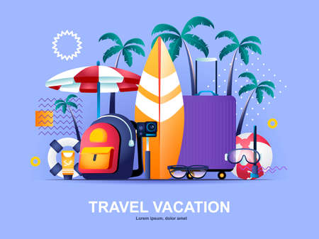 Travel vacation flat concept with gradients. Booking of airline tickets and hotel rooms web template. Summer holidays at seaside 3d composition, tropical beach vacation and surfing vector illustration