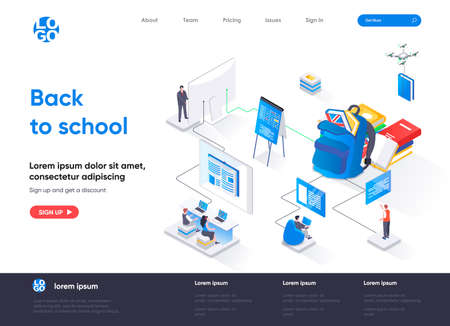 Back to school isometric landing page. Elementary and high schools education isometry concept. Distance education program, online learning flat web page. Vector illustration with people characters.