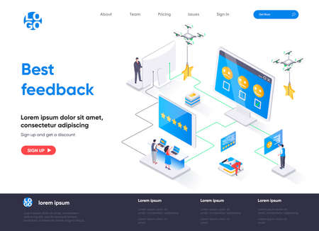 Best feedback isometric landing page. Online customers opinion, rating and review isometry concept. Social media marketing, feedback comment flat web page. Vector illustration with people characters.
