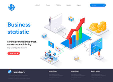 Business statistic isometric landing page. Statistical research isometry concept. Business consulting, financial accounting and analytics flat web page. Vector illustration with people characters. Stock Illustratie