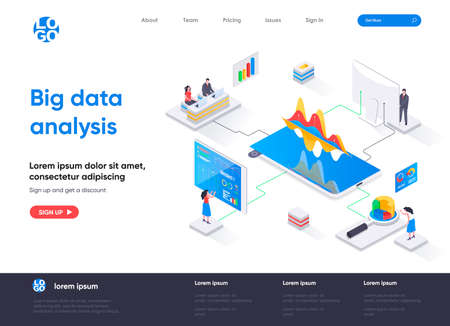 Big data analysis isometric landing page. Analytics and business intelligence isometry concept. Online analysis tools, software development company web page. Vector illustration with people characters