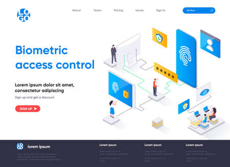 Biometric access control isometric landing page design. Fingerprint scan provides security access isometry concept. Biometrics identification flat web page. Vector illustration with people characters.