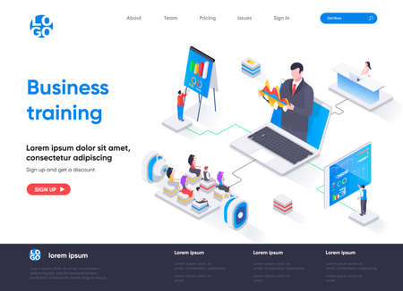 Business training isometric landing page. Business workshop, online webinar with coach isometry concept. Professional skills development flat web page. Vector illustration with people characters.