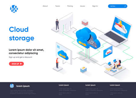 Cloud storage isometric landing page. Internet hosting provider, data storage service isometry concept. Secure cloud storage, database system flat web page. Vector illustration with people characters. Stock Illustratie