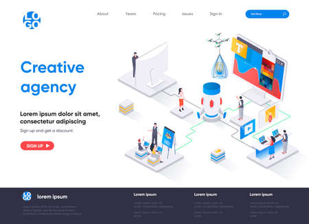 Creative agency isometric landing page. Creative design workshop isometry concept. Professional branding, creativity and ideas visualization flat web page. Vector illustration with people characters.