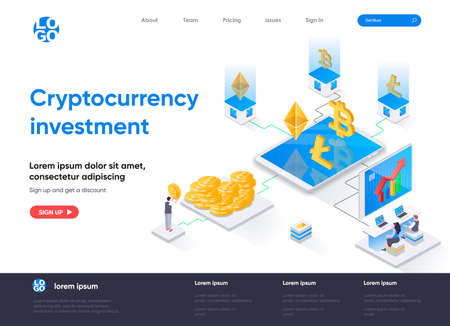 Cryptocurrency investment isometric landing page. Buy and trade bitcoin, litecoin and ethereum cryptocurrency isometry concept. Capital investing web page. Vector illustration with people characters. Stock Illustratie